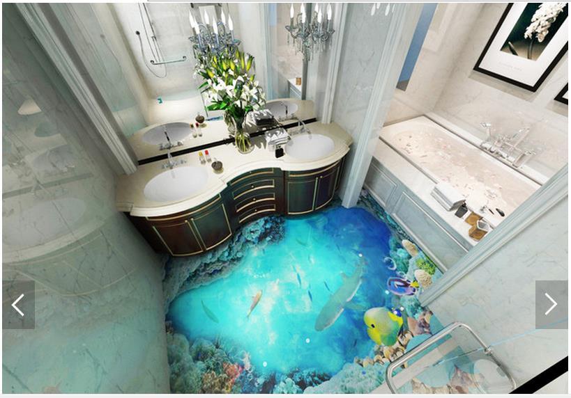 3D wallpaper customized 3D floor painting wall paper 3d dark ocean floor tile stereograph ...