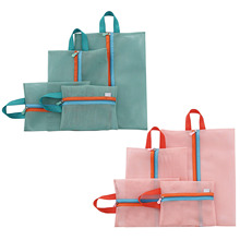 aboutbaby 4pcs Organizer Set Handbag Storage Bag for Cosmetic Makeup Case Wash Toiletry Shoe Bag Luggage Packing Mesh Pouch