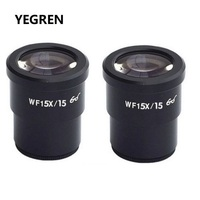 One Pair Wide Field WF15X Eyepiece for Stereo Microscope Mounting Size 30mm Field of View 15mm or 16mm Optical Ocular Lens|Microscope Parts & Accessories| |  -