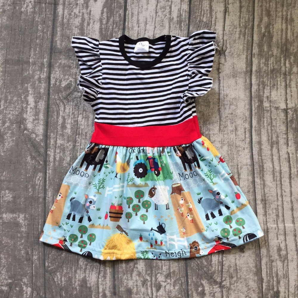 restock new summer cotton baby girls kids boutique clothes dress sets farm chick reindeer Cow sheep print ruffles black stripes цена
