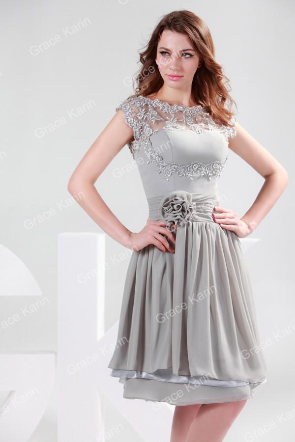 66d1bfb7f Grace karin marca cinza vestidos de noite curtos mulheres o neck oco ...