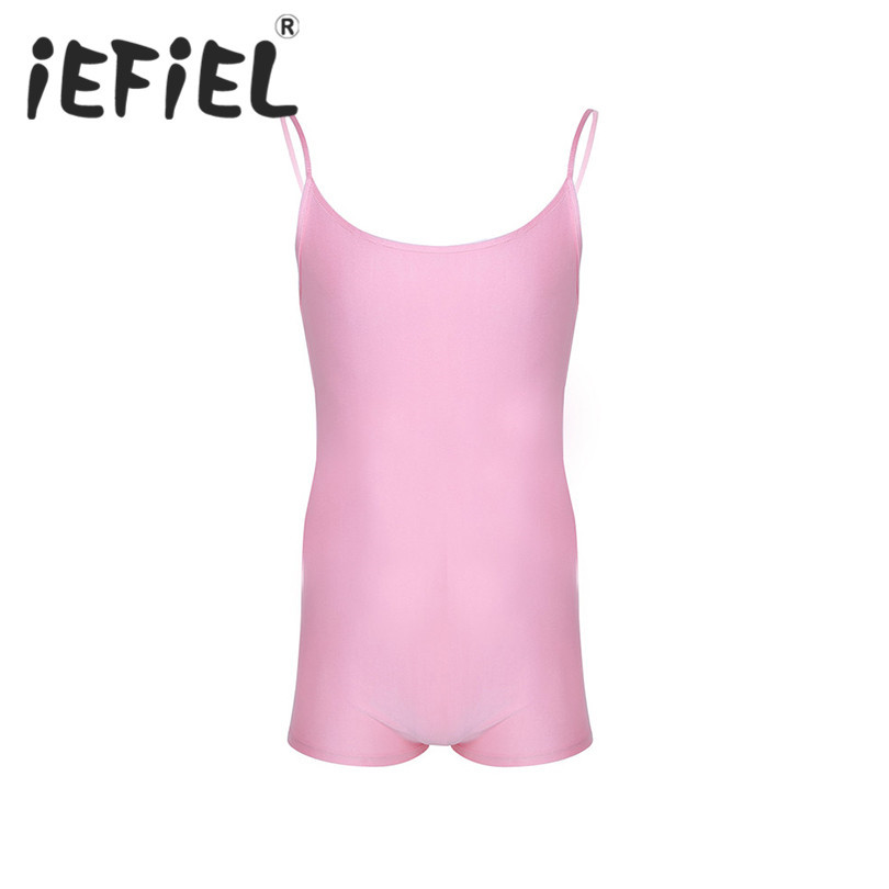 iEFiEL New Arrival Mens One-piece Stretch Romper Lingerie Spaghetti Strap Sleeveless Thong Bodysuit Jumpsuit Leotard Underwear
