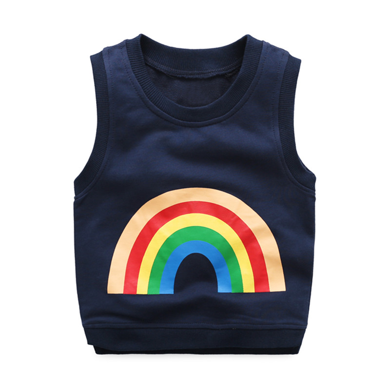 6ea7227c948b Mudkingdom Boys Vest Kids Rainbow Print Cotton O-neck Sleeveless ...