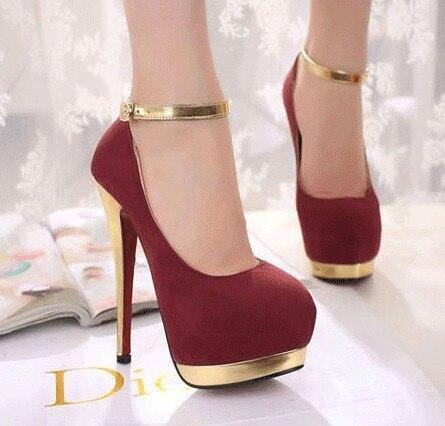 Cheap Price Gold Heel and Platform Pump Women High Heels Pumps ...