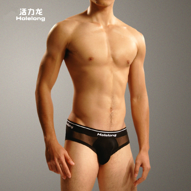 Free-shipping 2016 Real Mens Briefs Holelong Man Low Rise Briefs Transparent Sexy See-through Underwear fancy mens brand HCSD003