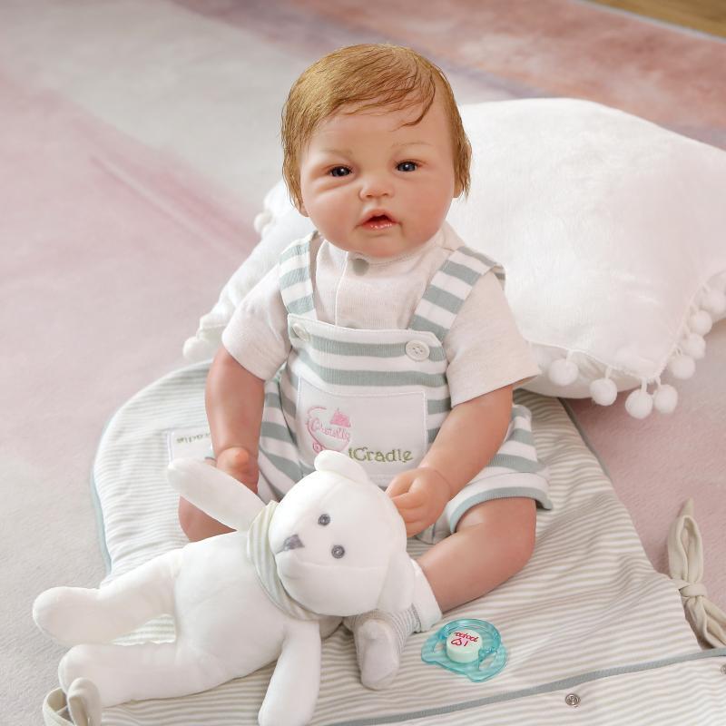 55cm New Soft Body Silicone Reborn Baby Doll Toys Lifelike Newborn Boutique Boy Reborn Doll Birthday Present Xmas Doll  Gift