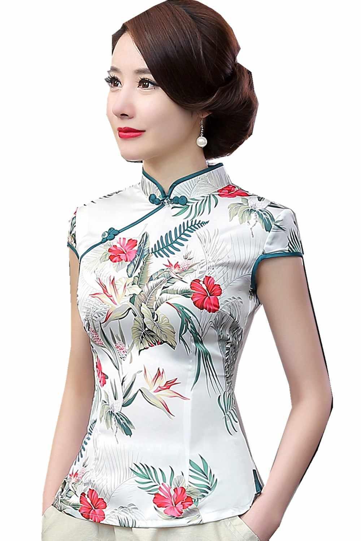 Шанхай история Женские топы и блузки китайские Топы Шелковый Чонсам Топ Традиционный китайский Топ Блузка 2 стиля на выбор