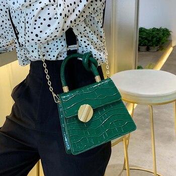 Moda 2019 nueva bolsa de mano de cuero de calidad bolso de diseñador de Mujer bolso de bandolera con patrón de cocodrilo 3