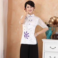 New Arrival Summer Chinese Lace Half Sleeve Women Tang Suit Tops Blouse Traditional Elegant Slim Shirt M L XL XXL XXXL 2339 1