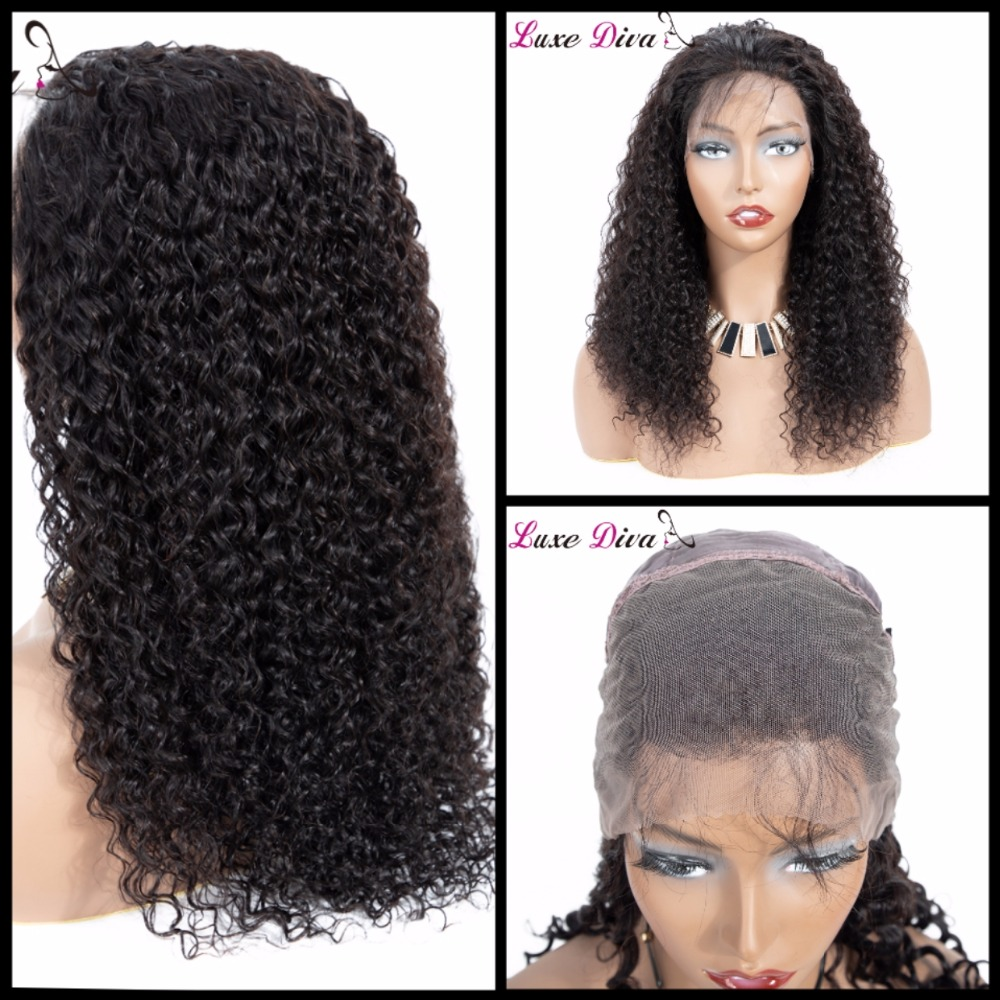Curly Wig Lace-Frontal Jerry Brazilian Human-Hair Women 360 for Black Short Pre-Plucked