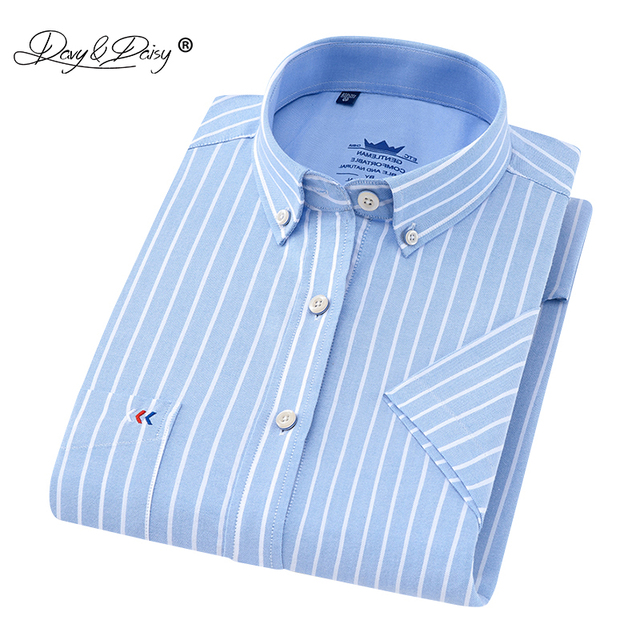 f5cbd496cb8 DAVYDAISY 2018 High Quality Summer Short Sleeve Shirt Men Dress Solid  Striped Print Casual Oxford Shirts Male Clothing DS-229
