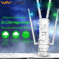 Wavlink alta potência ac1200 wi fi sem fio ao ar livre repetidor ap/roteador wi-fi 1200 mbps dupla dand 2.4g + 5 ghz extensor de longa distância poe