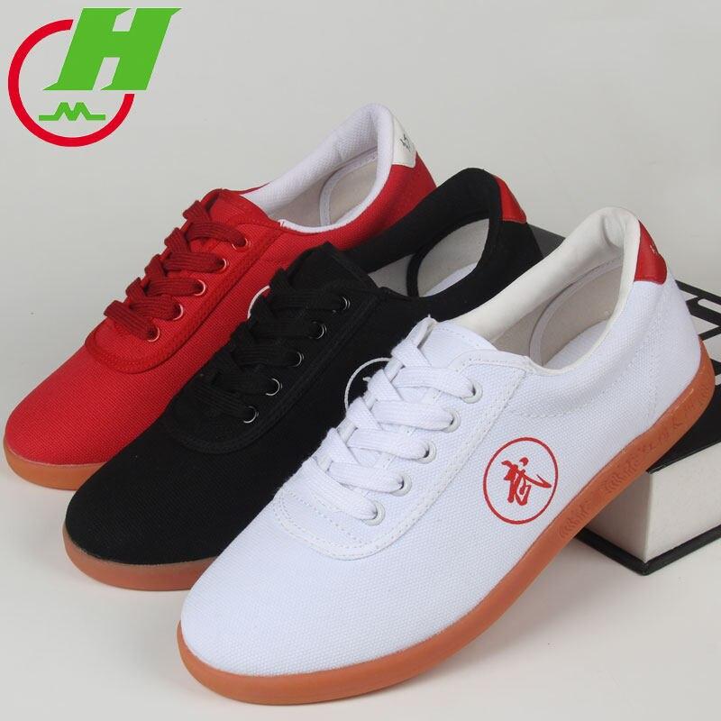 Blanco, negro, rojo de calidad de marca corriendo Kung Fu Wushu Taichi Tai Ji zapatos TaiJi de arte marcial de la zapatilla de deporte de Taekwondo zapatos Trajes chinos tradicionales traje chaqueta Wu Shu Tai Chi Shaolin Kung Fu Wing Chun camisa de manga larga