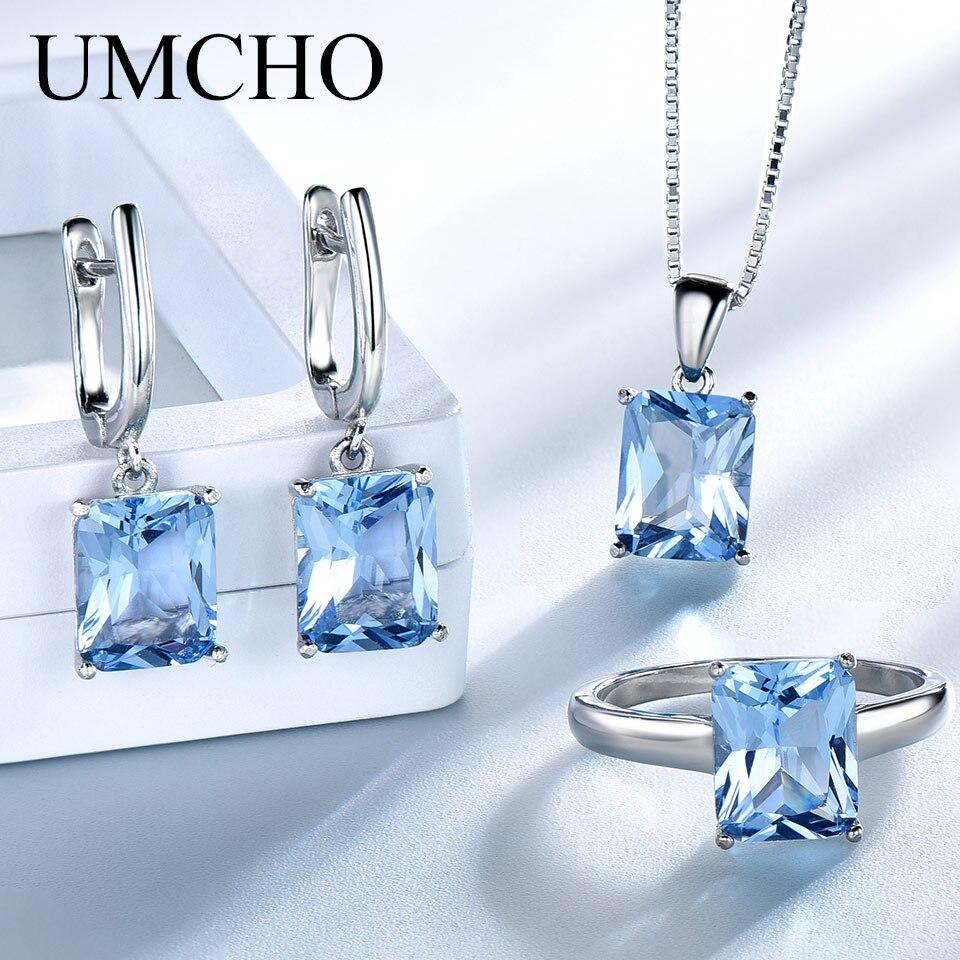 Ensembles de bijoux de mariage en topaze bleu ciel UMCHO pour femmes 925 bagues de fiançailles en argent Sterling collier pendentif Clip boucles d'oreilles