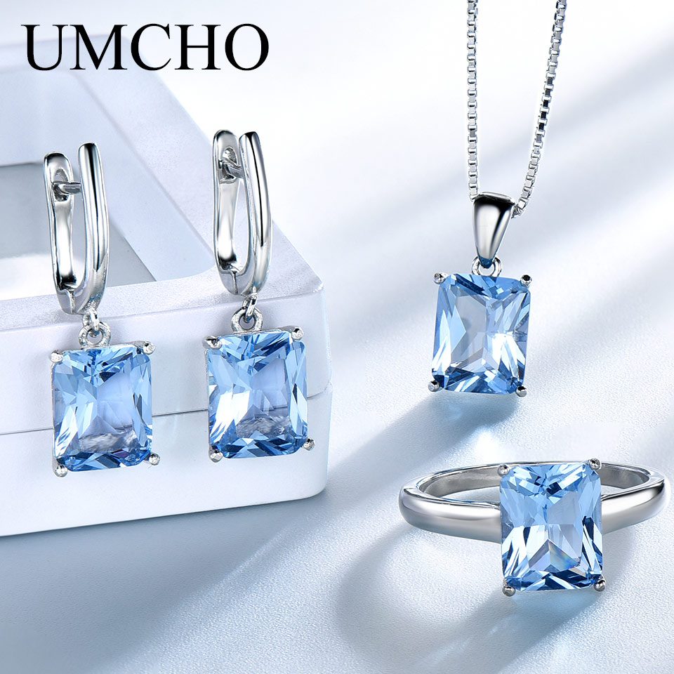 UMCHO Sky Blue Topaz Gemstone Wedding Jewelry Sets For Women 925 Sterling Silver Engagement Rings Necklace Pendant Clip Earrings