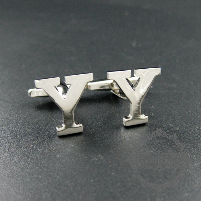 15X17mm initial letter Y rhodium silver plated brass novelty cufflinks fashion sleeve buttons shirt cufflinks 1500103