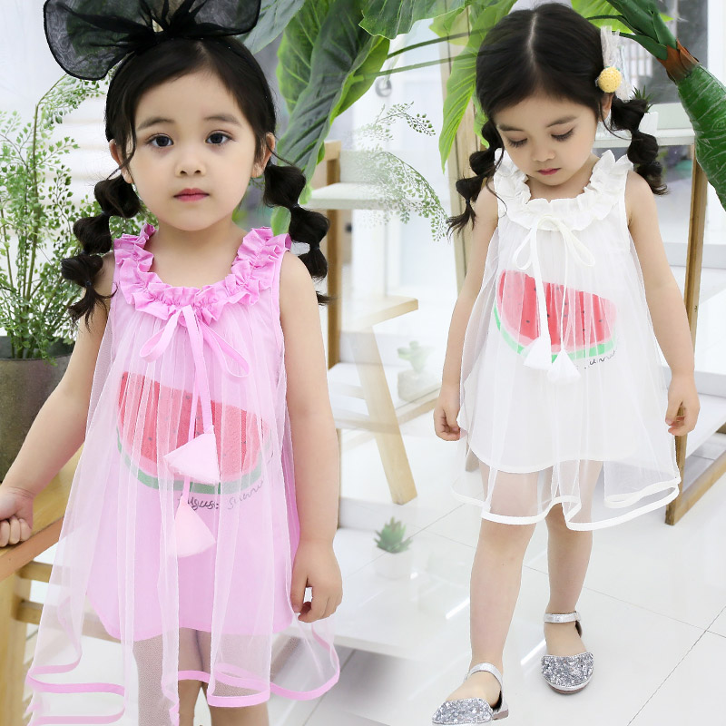 RUBU Summer Baby Girls Vest Dresses Toddle Kids Ruffle Princess Dress Girls Sleeveless Net Vestidos Costumes Baby Clothes 2-7Y