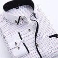 Súper Macho Camisa Masculina Camisas de Costura Camisas de Oficina Partido Camisa A Cuadros Camisa Masculina Sociales Smoking de La Manga Completa Caliente B003
