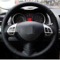 Black Artificial Leather Car Steering Wheel Cover For Mitsubishi Lancer EX10 Lancer X Outlander ASX Colt