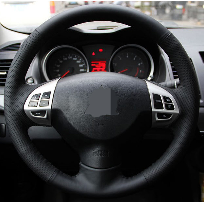 Black Artificial Leather Car Steering Wheel Cover for Mitsubishi Lancer EX10 Lancer X Outlander ASX Colt Pajero Sport mewant black genuine leather black suede car steering wheel cover for mitsubishi lancer ex outlander asx colt pajero sport