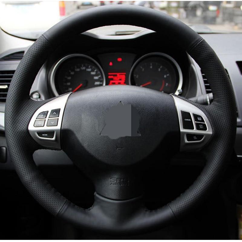Hitam Kulit Buatan Penutup Roda Kemudi Mobil untuk Mitsubishi Lancer - Aksesori interior mobil