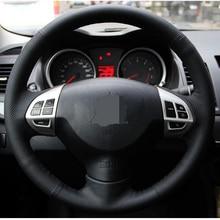 Black Artificial Leather Car Steering Wheel Cover for Mitsubishi Lancer EX10 Lancer X Outlander ASX Colt Pajero Sport