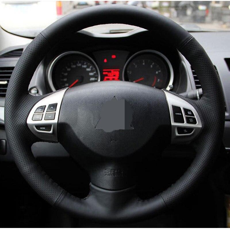Schwarz Künstliche Leder Auto Lenkrad Abdeckung für Mitsubishi Lancer EX10 Lancer X Outlander ASX Colt Pajero Sport