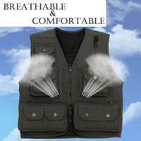 Multi Pocket Waistcoat Photography Director Reporter Outdoor Working Advertising Fishing Men S Canvas Safety Vest Free