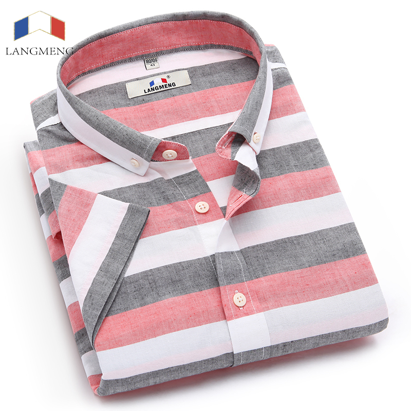 Langmeng 2017 Summer Men Casual Shirts Short Sleeved Linen Shirt Fashion Slim Cotton Striped Shirts Camisa Masculin Easy Care