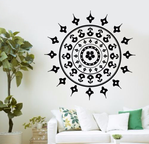 Painting Mandala Mantra Chakra Meditation Yoga Om Poster Decals Stickers Mural Home Decor adesivo de parede vinyl Wall Sticker