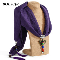 BOEYCJR 11 Colors Available Scarf Tassel Pendant Necklace Handmade Chinese Ethnic Jewelry Vintage Stone Necklaces For