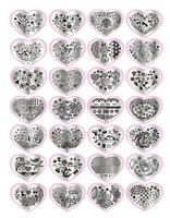 2016 Fashion1set Heart Shape DIY Polish Beauty Charm Nail Stamp Stamping Plates 3d Nail Art Templates