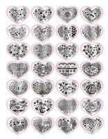 Fashion 1set Heart Shape DIY Polish Beauty Charm Nail Stamp Stamping Plates 3d Nail Art Templates Stencils Manicure Tools