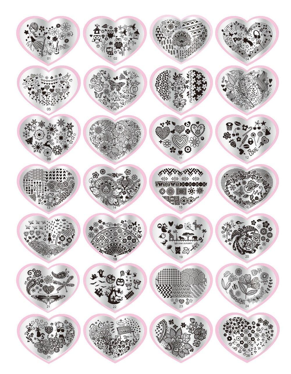 Moda 1 takım Kalp Şekli DIY Lehçe Güzellik Charm Tırnak Damga Plakaları Damgalama 3d Nail Art Şablonları Şablonlar Manikür Araçları