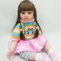 Силиконовые Моделирование Куклы для детей жив lifelike Настоящее сенсорный высокая конец подарки на день рождения Мода красочные длинные воло