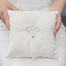 1pc Lace Faux Pearls Decorative Wedding Ring Pillow Bridal Ceremony Pocket Cushion Bearer Satin Ribbons ValentineS Gift 20x20cm