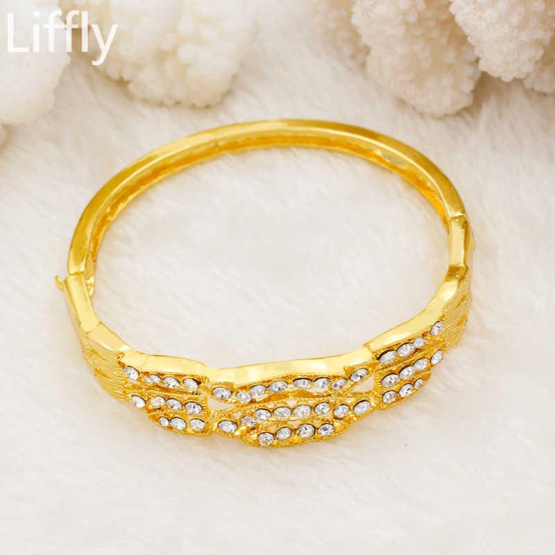 Liffly italiano luxo casamento noivado jóias colar de cristal pulseira anel charme feminino 24 presentes de ouro brincos conjuntos de jóias