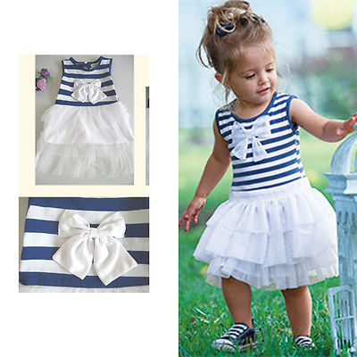 Bow Princess Pleated Cute Dress Tutu Bubble New Dresses  Baby Kid Girls Clothes Summer Sleeveless Striped 1 2 3 4  5 6 Years