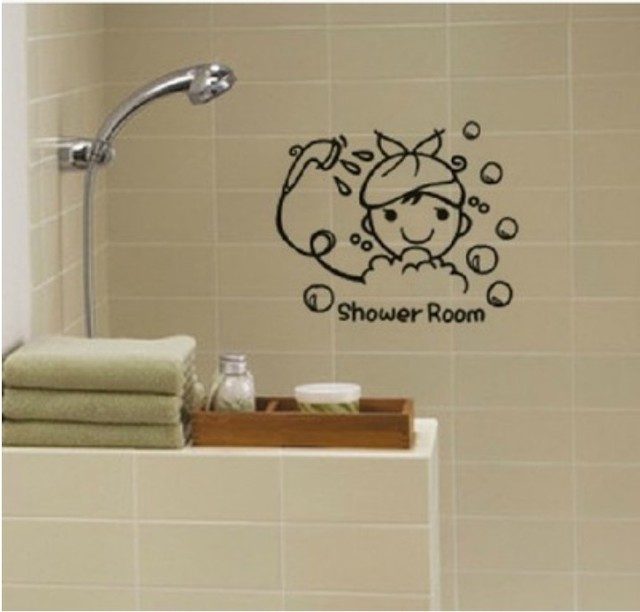 Baby Shower Wall Stickers Shower Room Bathroom Decoration Accessories Wall  Decal Kids Baby Bathing Room Glass