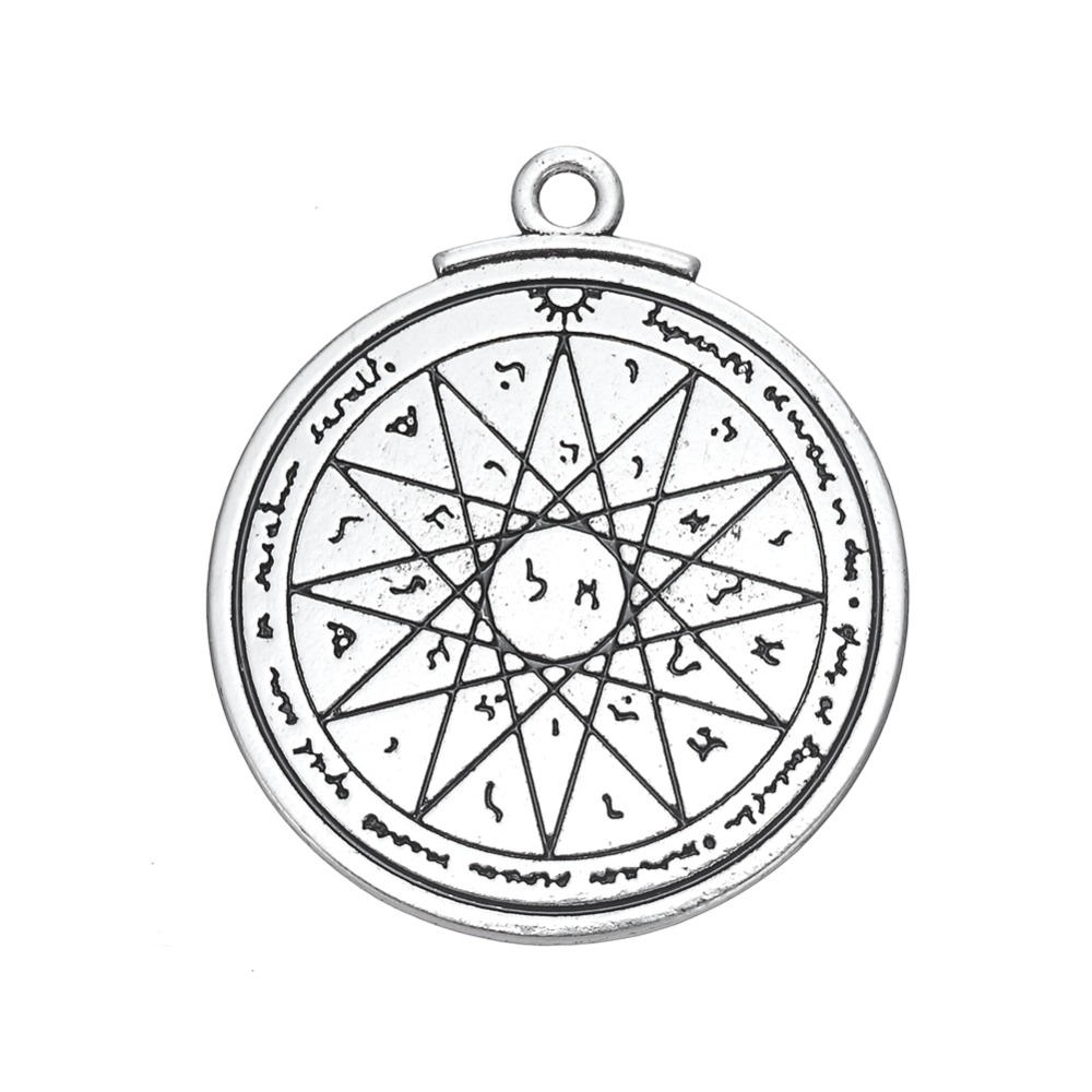 Dawapara Talisman of Wisdom Key of Solomon Pentacle large alloy pendants & charms with words famous jewelry
