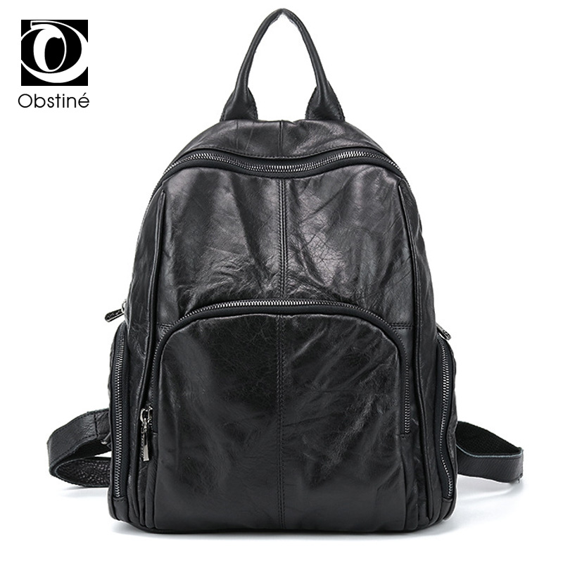 Obstine Brand Women Backpack Genuine Leather Large Capacity Travel Bags Ladies Shoulder Bag High Quality Backpacks for Girls кпб cl 29