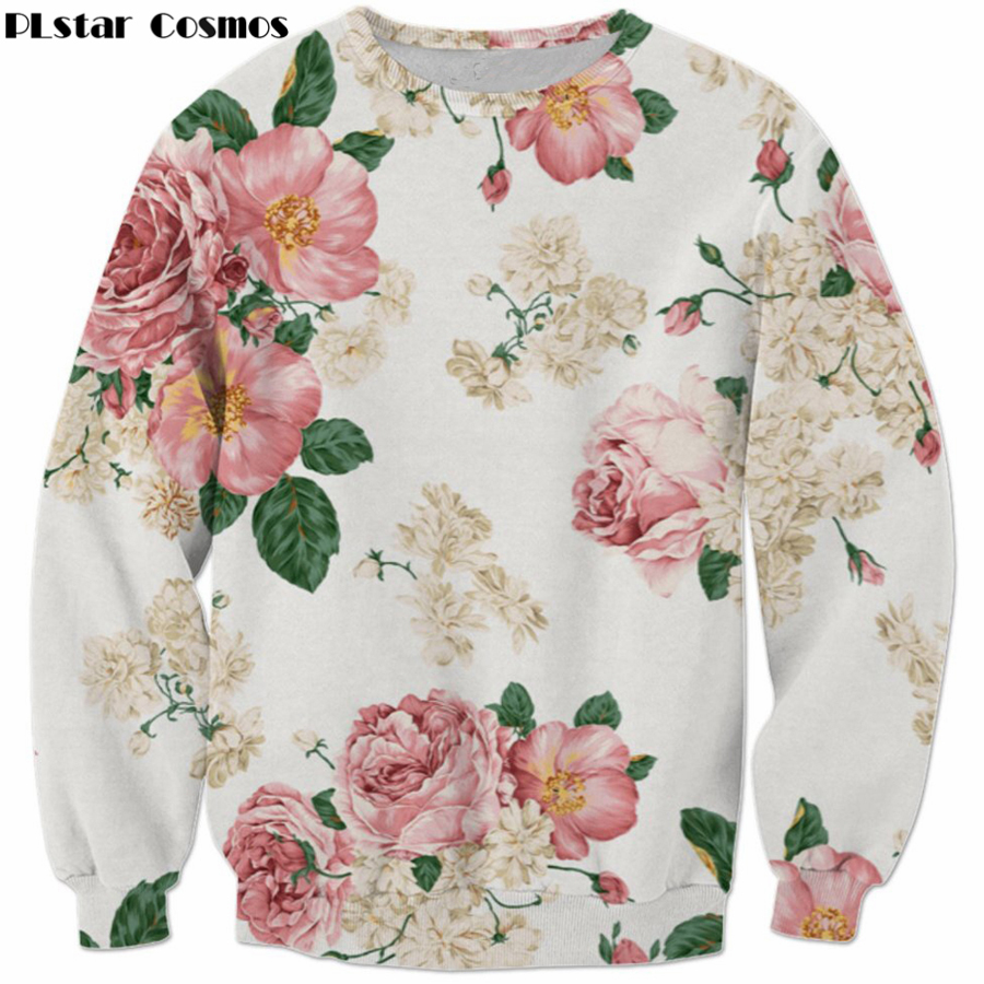 2017 Autumn New Fashion Sweatshirt Men/Women Long Sleeve Outerwear Floral 3d Print Crewneck Pullovers Casual Sportswear