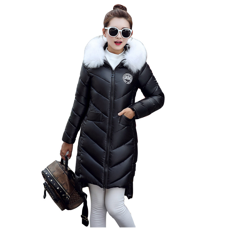 Winter Pu Leather Fur Collar Hooded Warm Slim Cotton Jacket Women Fashion Padded Parka Medium-Long Wadded Parka Mujer TT2880 winter jacket women hooded cotton padded jacket medium long cotton coat parkas slim women wadded warm jacket mujer mz1694