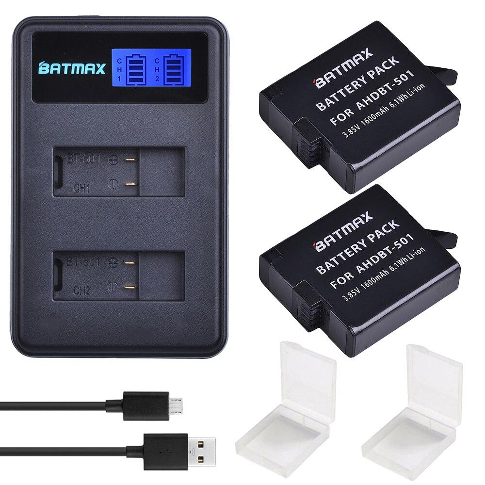 2 stücke Für GoPro Hero 5 GoPro Hero 6 7 Batterie Batterie 1600 mah + LCD Dual USB Ladegerät Für goPro Hero5 6 Schwarz Kamera Gopro 2018