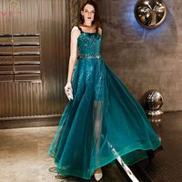 Turquoise Green Prom Dresses Hi lo Sequined Dot Tulle Spaghetti Straps Lace Appliques A line Long Sparkly Party Evening Gowns