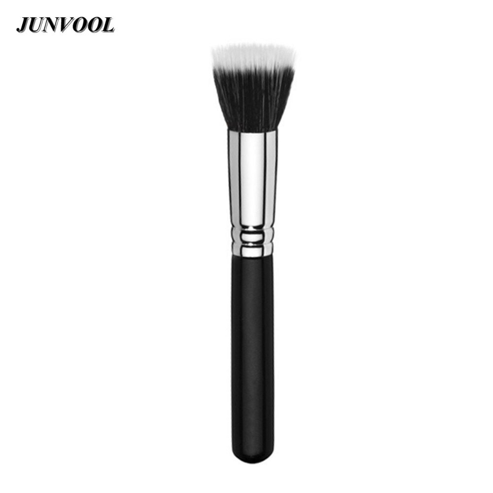1pcs Full Size Powder Brush Skin Care Black Duo Fiber Stippling Brushes Flat Top Foundation maquillage Beauty Make Up Tools