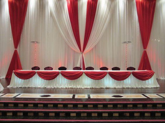 Cenário De Casamento branco com Vermelho, casamento de luxo cortina do palco