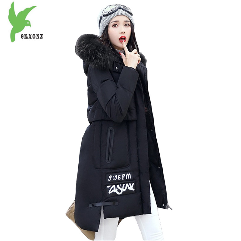 New Women Winter Down Cotton Jacket Fashion Solid Color Hooded Fur Collar Thicker Casual Costume Plus Size Slim Coat OKXGNZ A918 new winter women cotton jackets solid color hooded long coat plus size fur collar thicker warm slim casual outerwear okxgnz a795