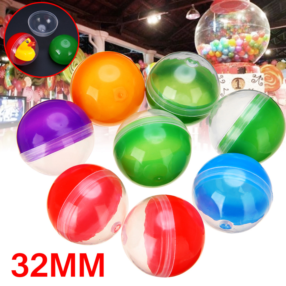 10Pcs 32mm Diameter Vending Machine Empty Round Toy Capsules Mix Color 1.2inch Funny Kids Toy For Vending Machine