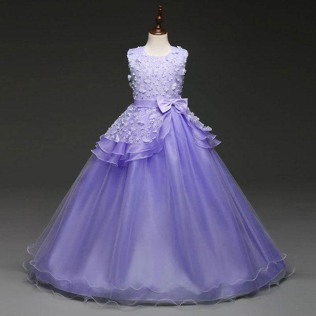 5321d37eb81b Tulle Elegant Kids Princess Ruffle Ball Gown Lace Wedding Evening ...